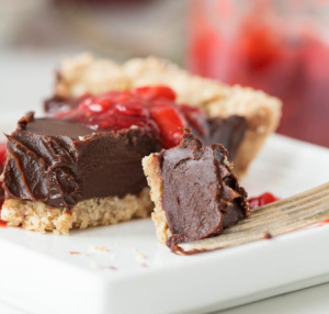 Chilled Chocolate Pie with Toasted Almond Crust