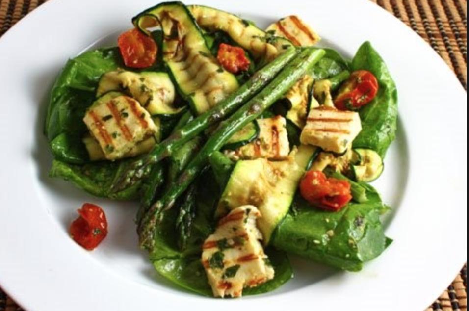 Asparagus, Zucchini & Eggplant Salad with Haloumi